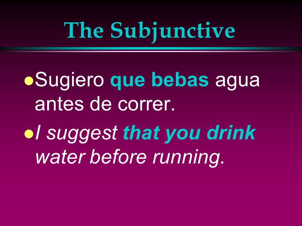 The Subjunctive Sugiero que bebas agua antes de correr.
