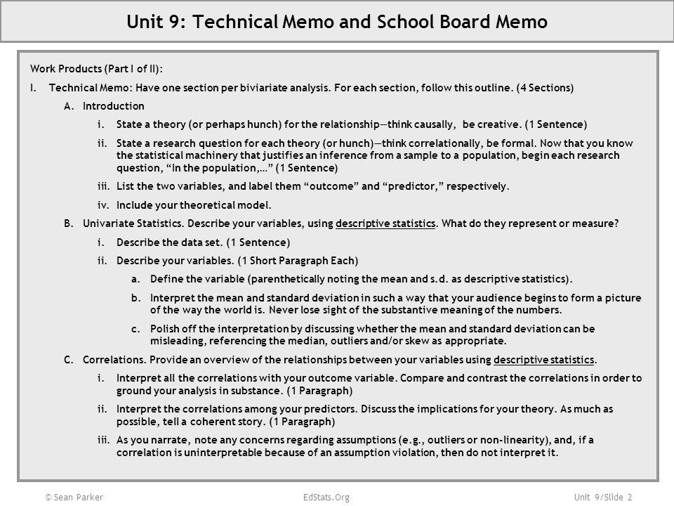 Unit 9: Technical Memo and School Board Memo