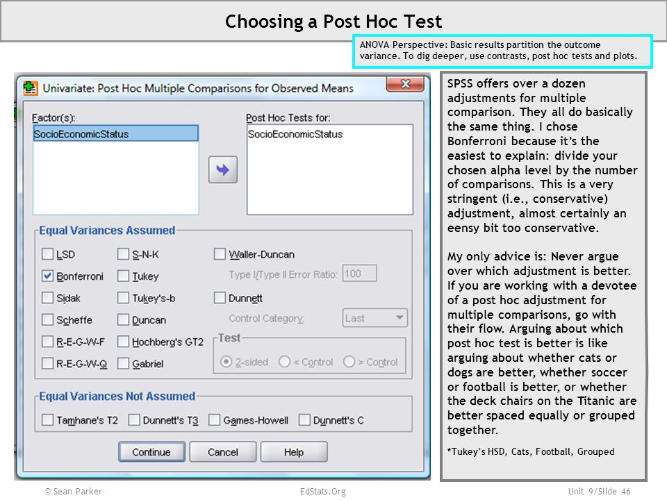 Choosing a Post Hoc Test