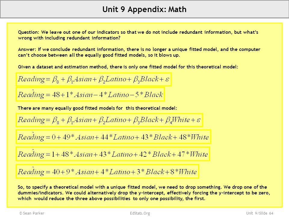 Unit 9 Appendix: Math Slide 64 Unit 1: