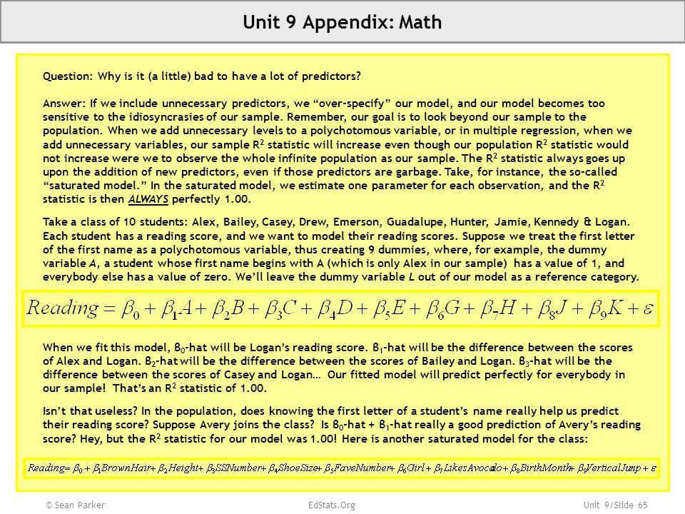 Unit 9 Appendix: Math Slide 65 Unit 1:
