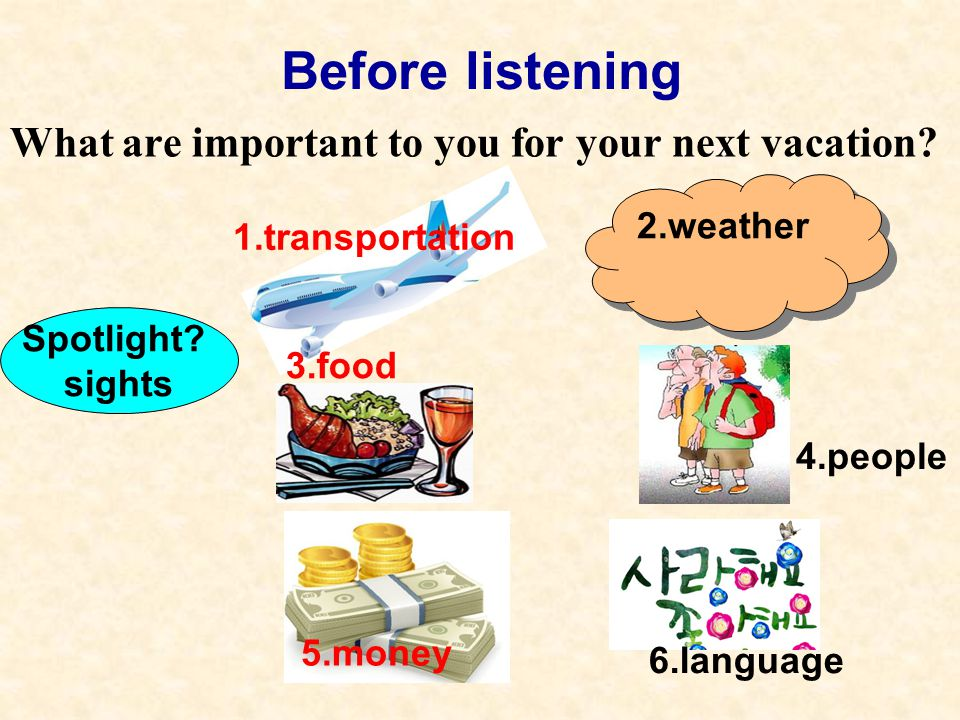 Before listening What are important to you for your next vacation