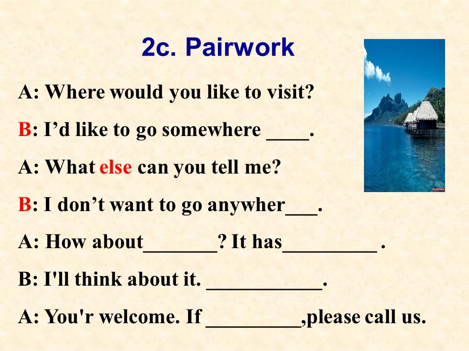 2c. Pairwork A: Where would you like to visit