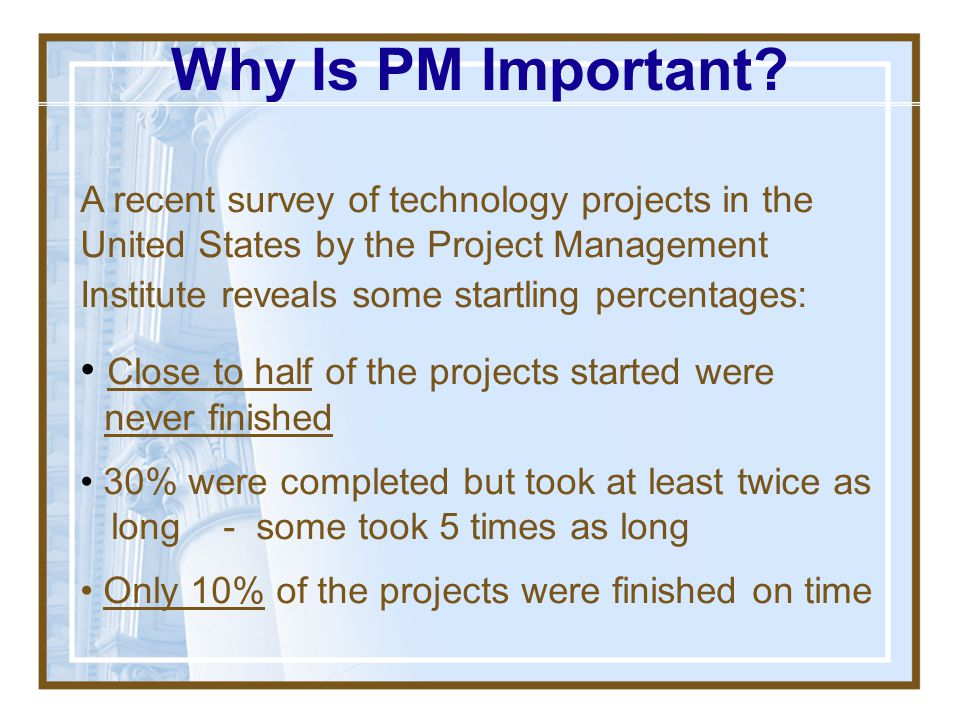Why Is PM Important Close to half of the projects started were