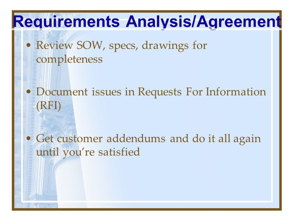 Requirements Analysis/Agreement