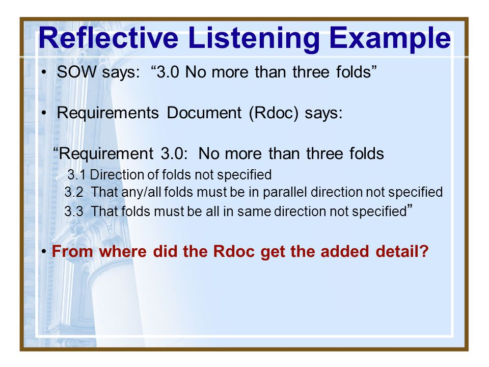 Reflective Listening Example