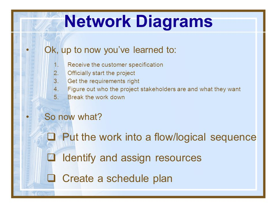 Network Diagrams Put the work into a flow/logical sequence