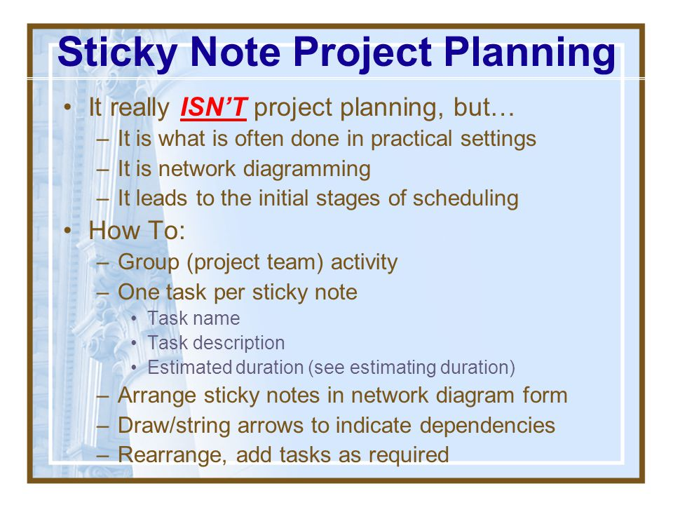 Sticky Note Project Planning
