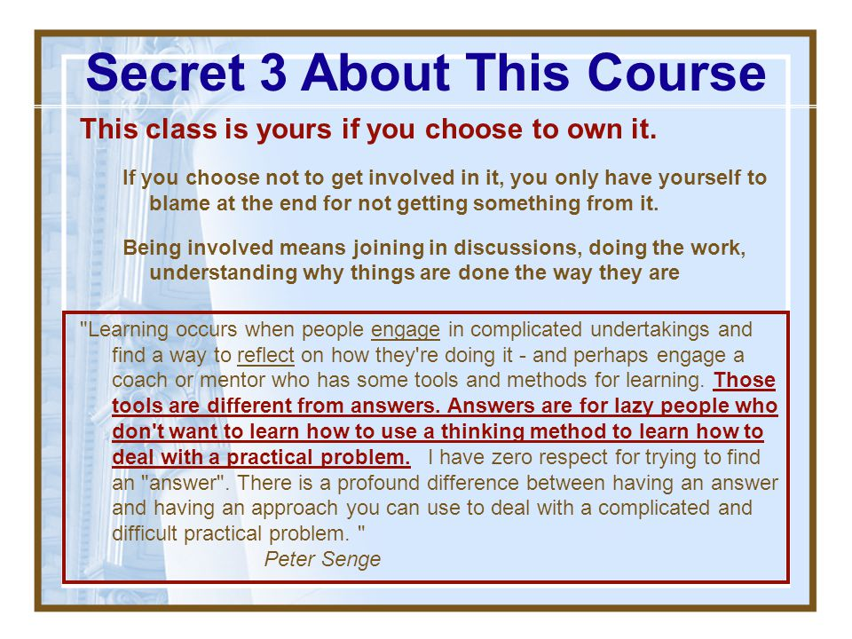 Secret 3 About This Course