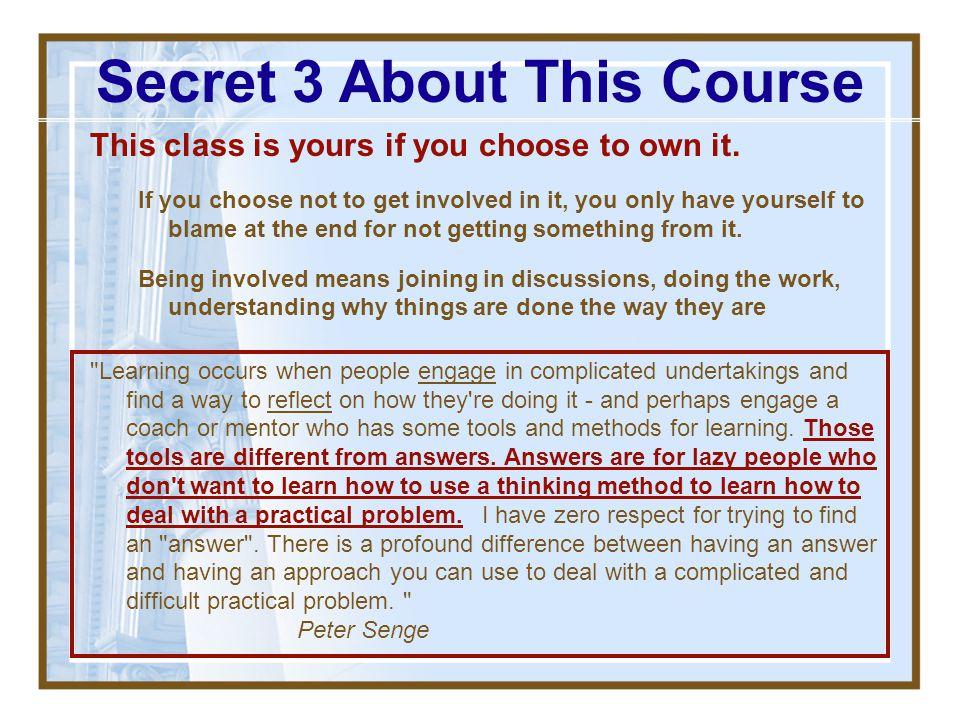 Secret 3 About This Course