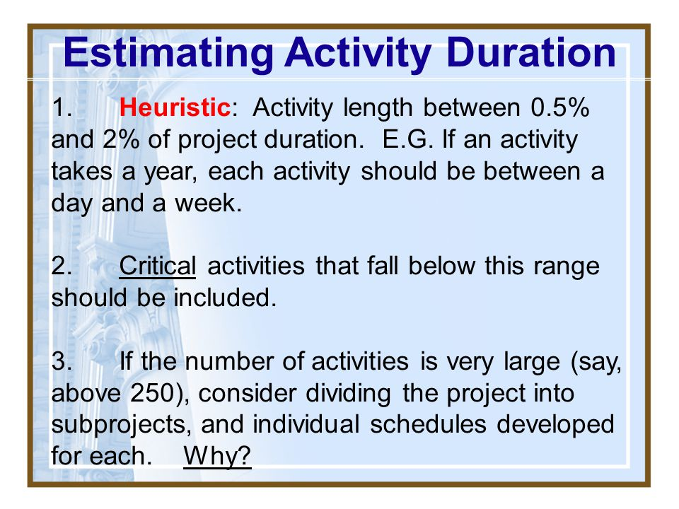 Estimating Activity Duration