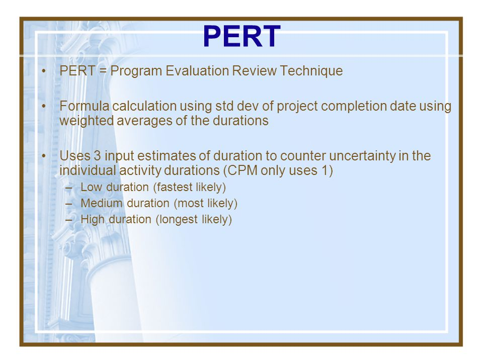 PERT PERT = Program Evaluation Review Technique