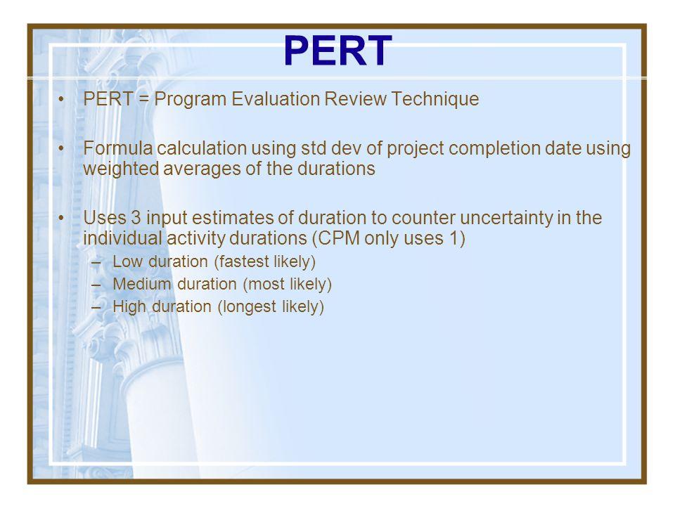 PERT PERT = Program Evaluation Review Technique