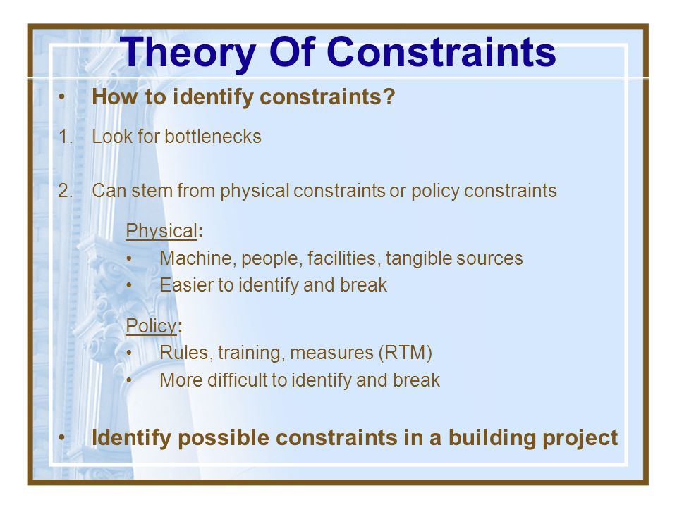 Theory Of Constraints How to identify constraints