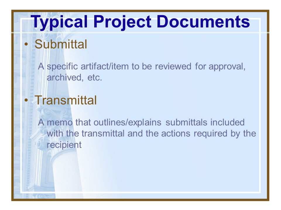 Typical Project Documents