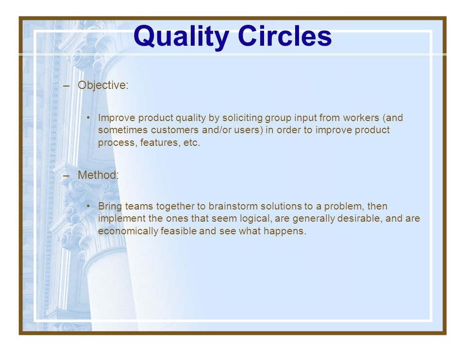 Quality Circles Objective: Method:
