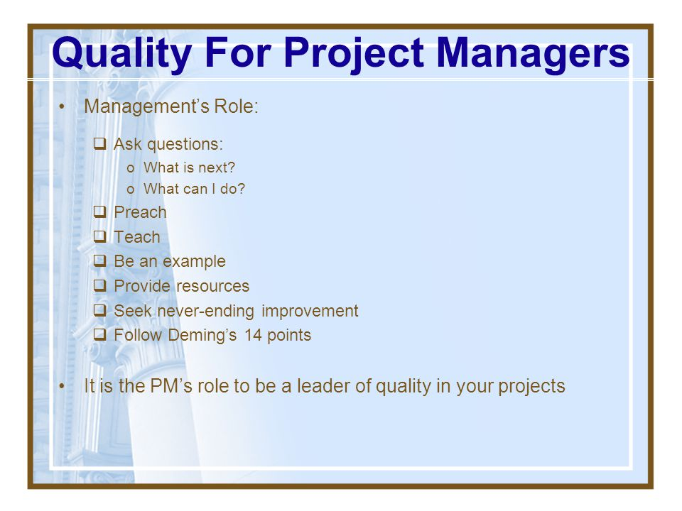 Quality For Project Managers