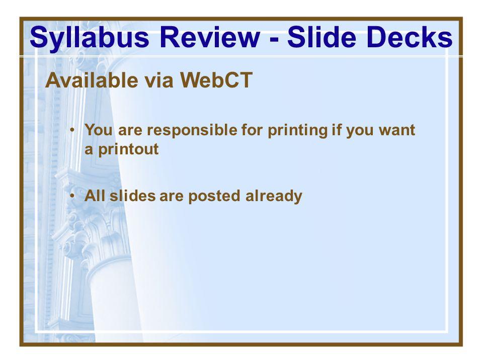 Syllabus Review - Slide Decks