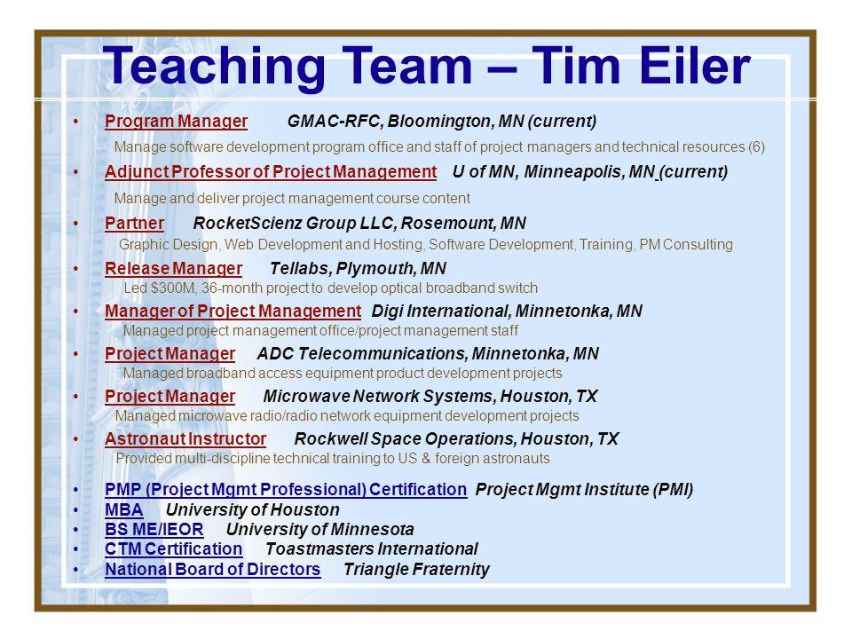 Teaching Team – Tim Eiler
