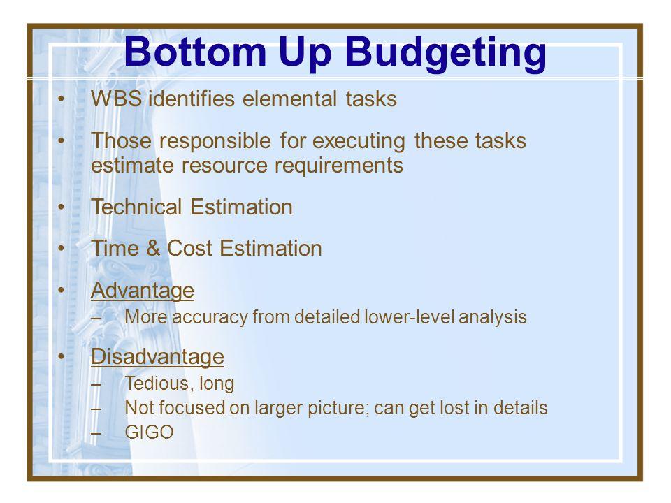Bottom Up Budgeting WBS identifies elemental tasks