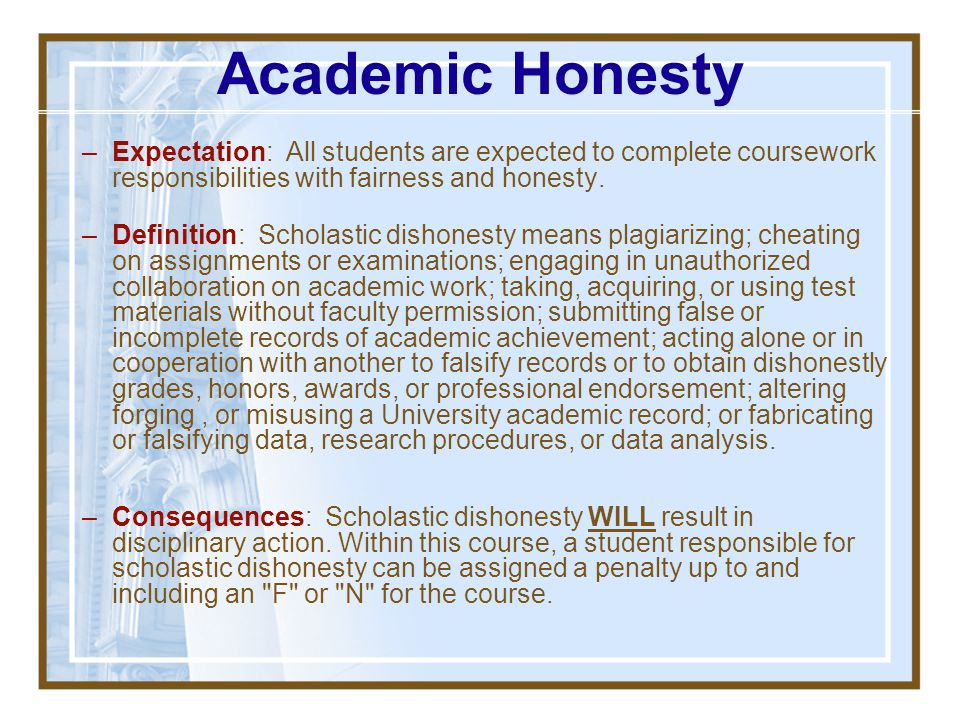 Academic Honesty Expectation: All students are expected to complete coursework responsibilities with fairness and honesty.