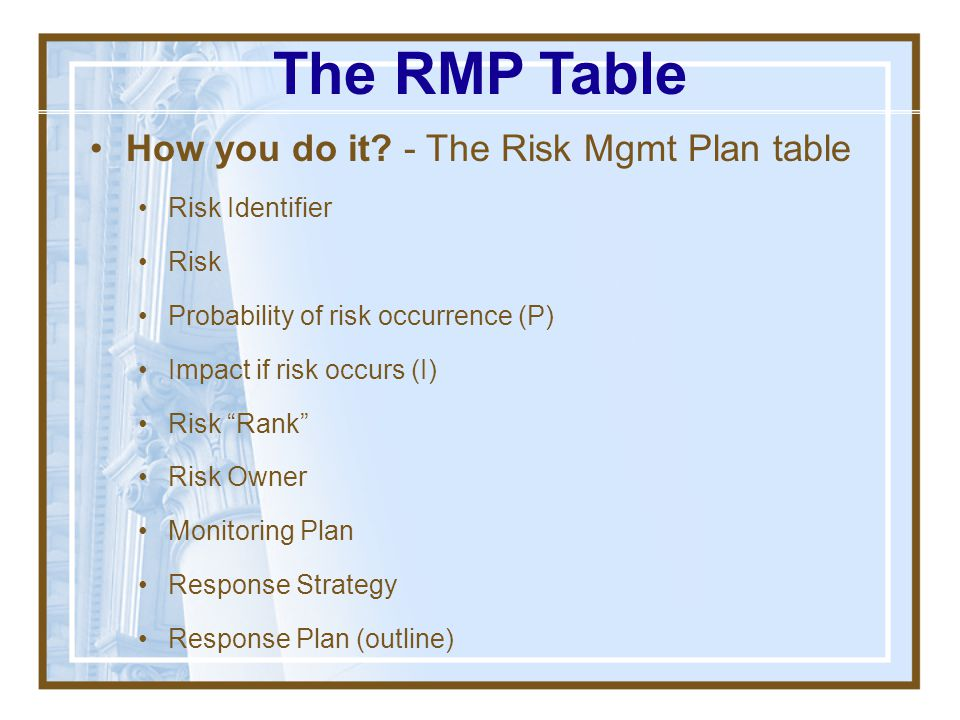 The RMP Table How you do it - The Risk Mgmt Plan table