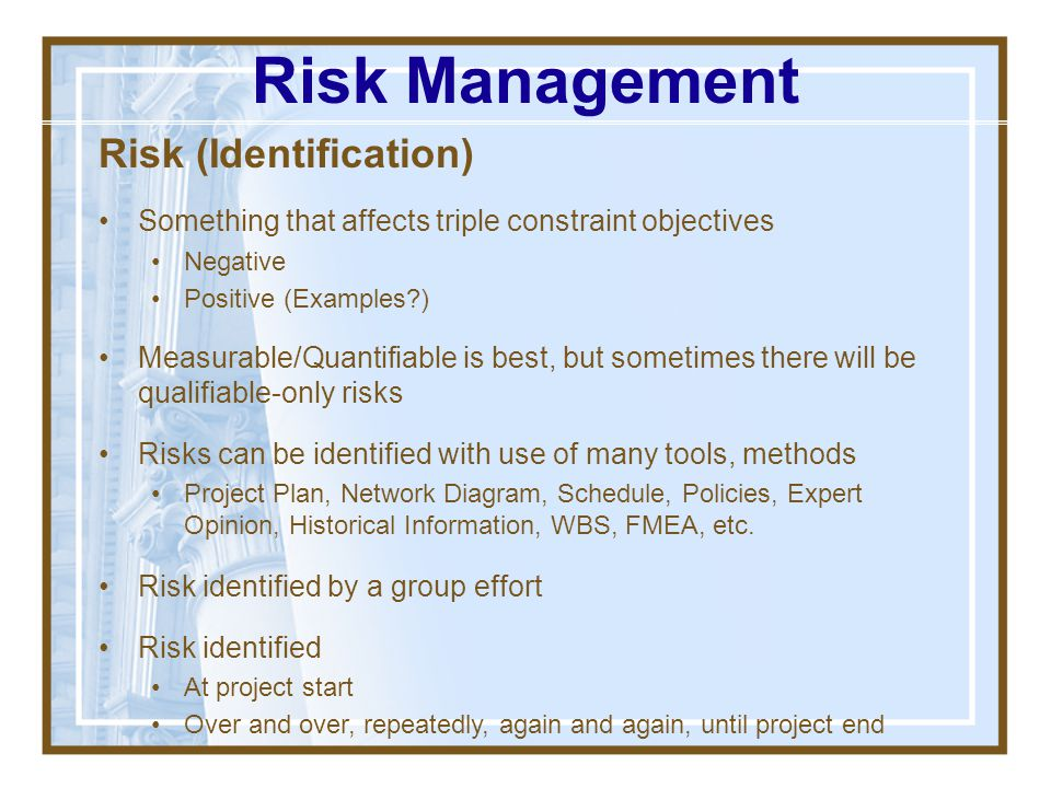 Risk Management Risk (Identification)