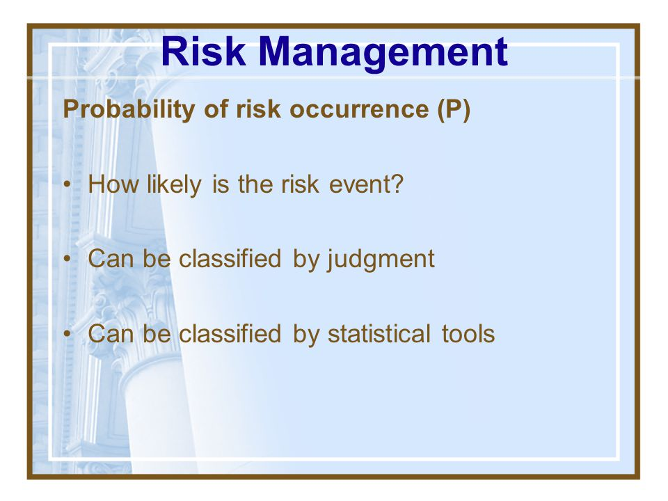 Risk Management Probability of risk occurrence (P)