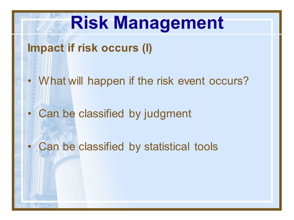 Risk Management Impact if risk occurs (I)