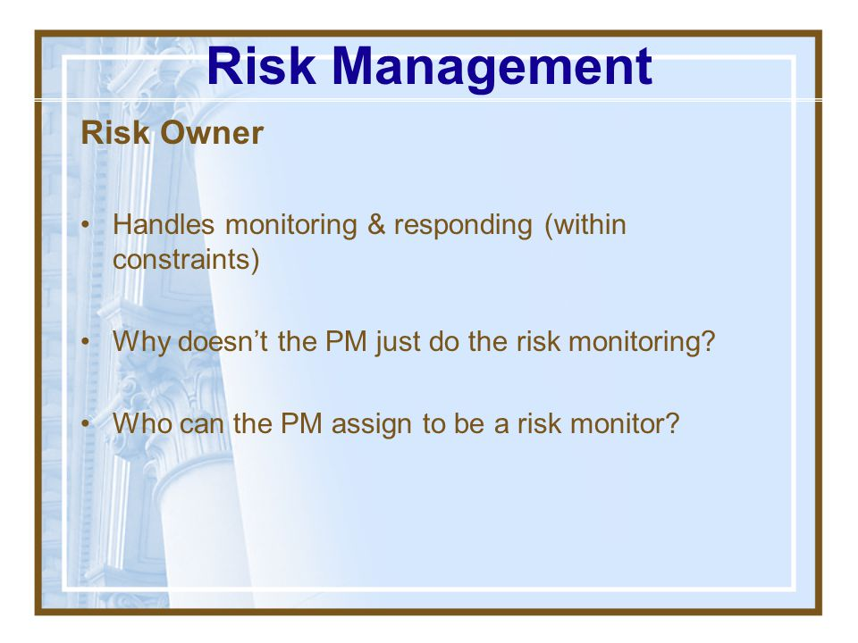 Risk Management Risk Owner