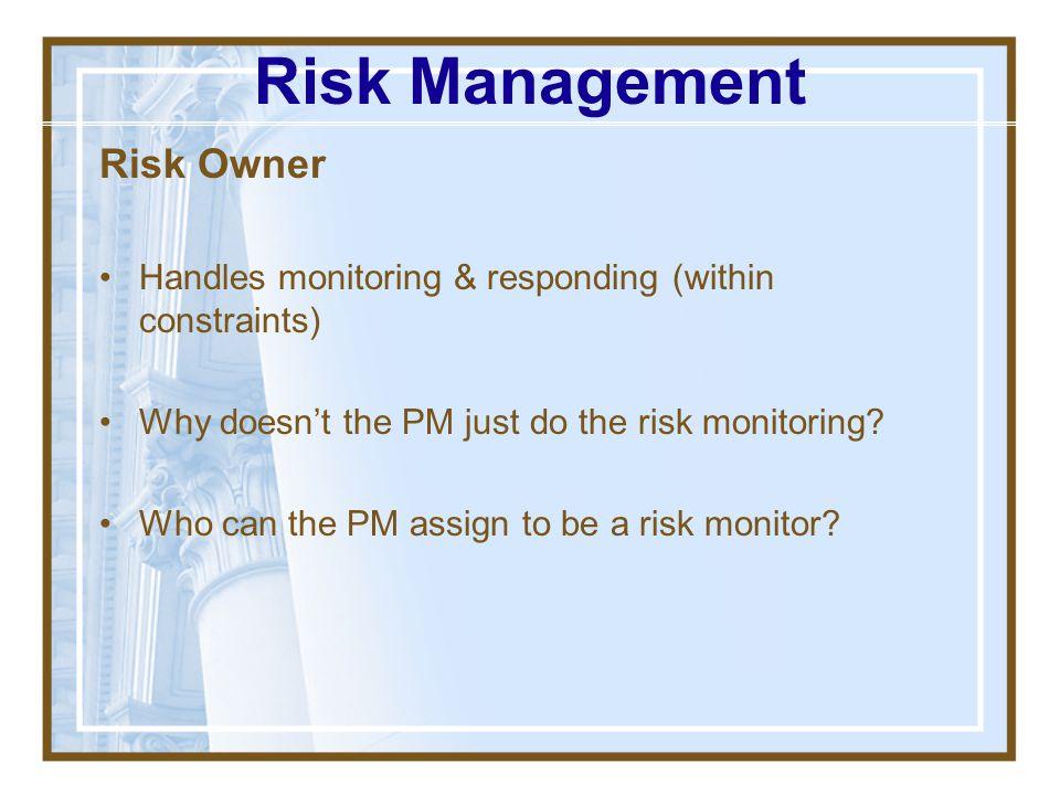 Risk Management Risk Owner