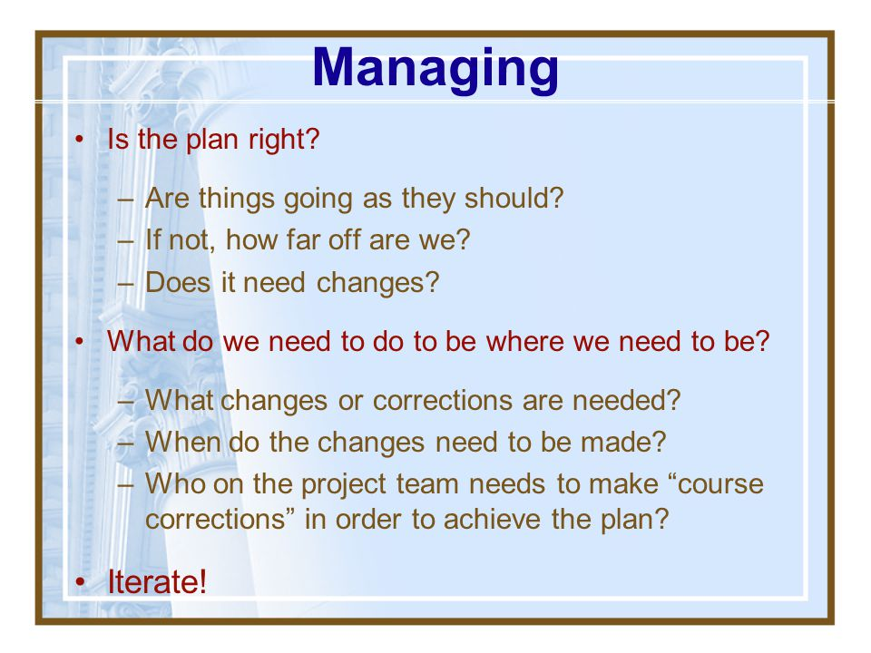 Managing Iterate! Is the plan right Are things going as they should
