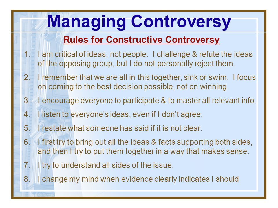 Rules for Constructive Controversy