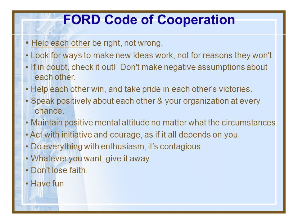 FORD Code of Cooperation