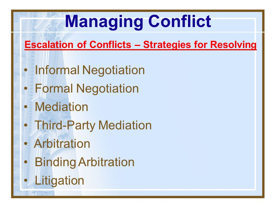 Escalation of Conflicts – Strategies for Resolving