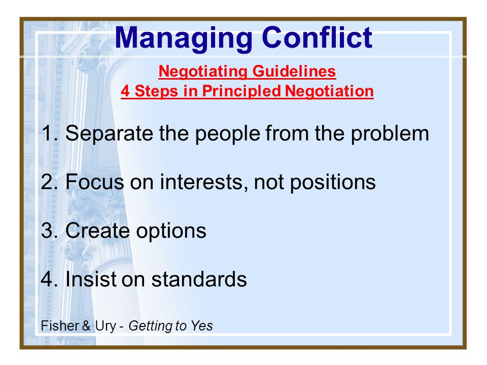 Negotiating Guidelines 4 Steps in Principled Negotiation