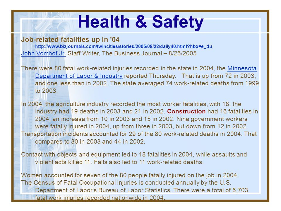 Health & Safety Job-related fatalities up in 04   hbx=e_du.