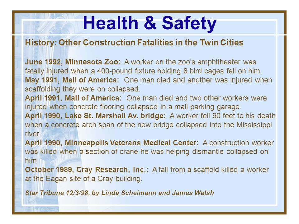 Health & Safety History: Other Construction Fatalities in the Twin Cities.