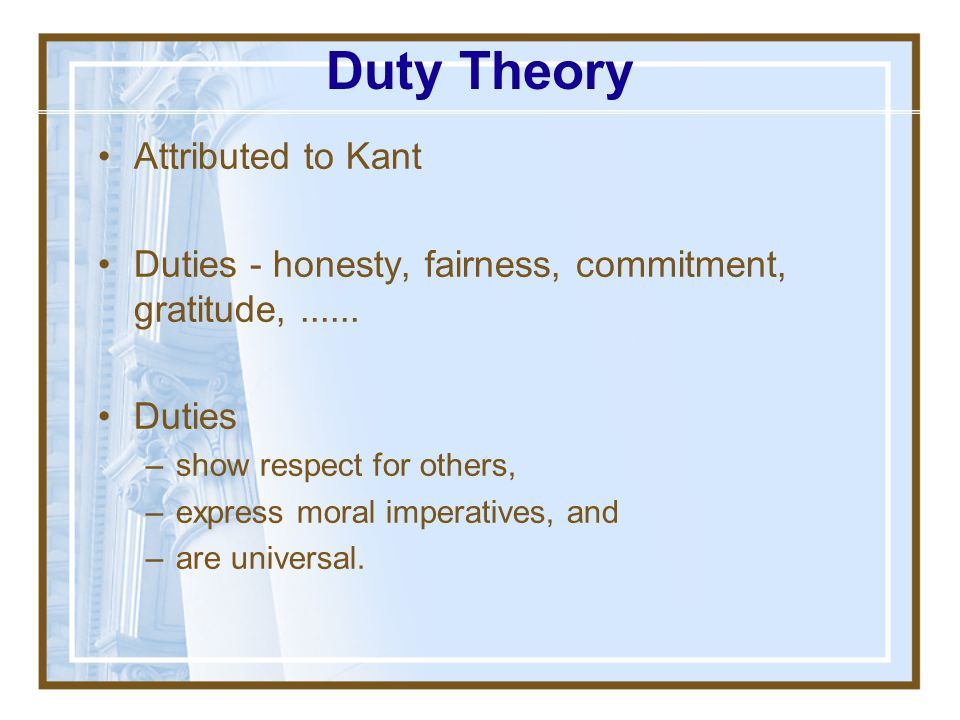 Duty Theory Attributed to Kant