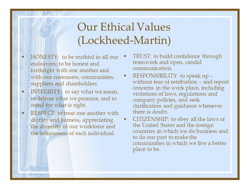 Our Ethical Values (Lockheed-Martin)