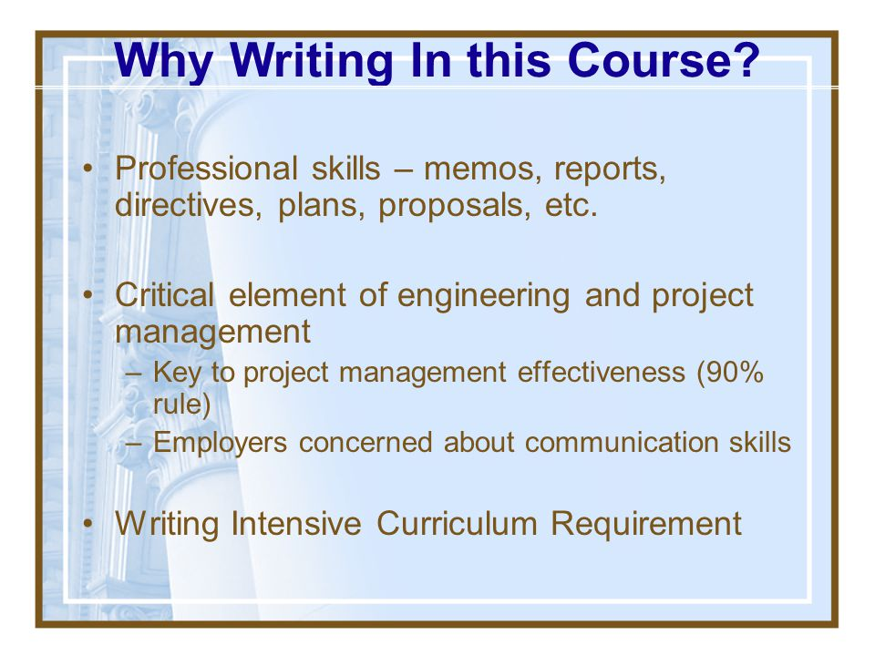 Why Writing In this Course
