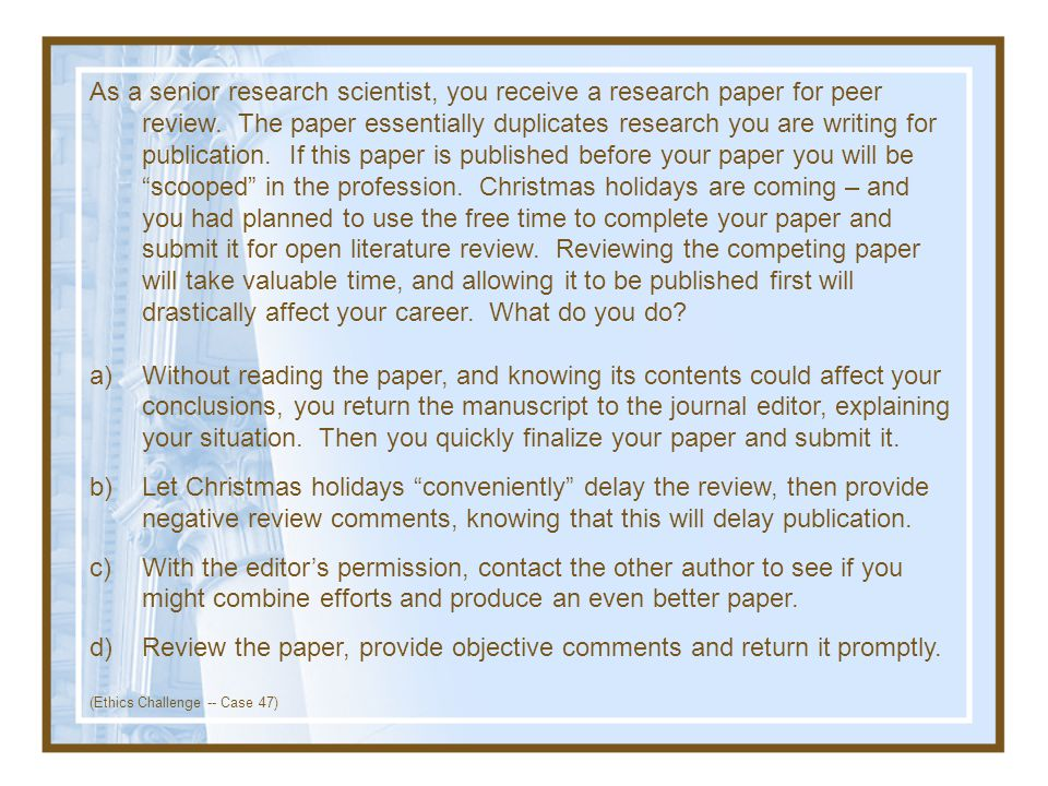 Review the paper, provide objective comments and return it promptly.