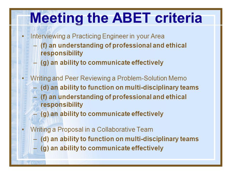 Meeting the ABET criteria