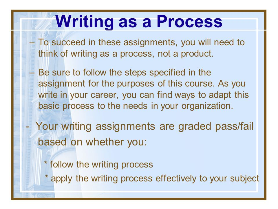 Writing as a Process - Your writing assignments are graded pass/fail