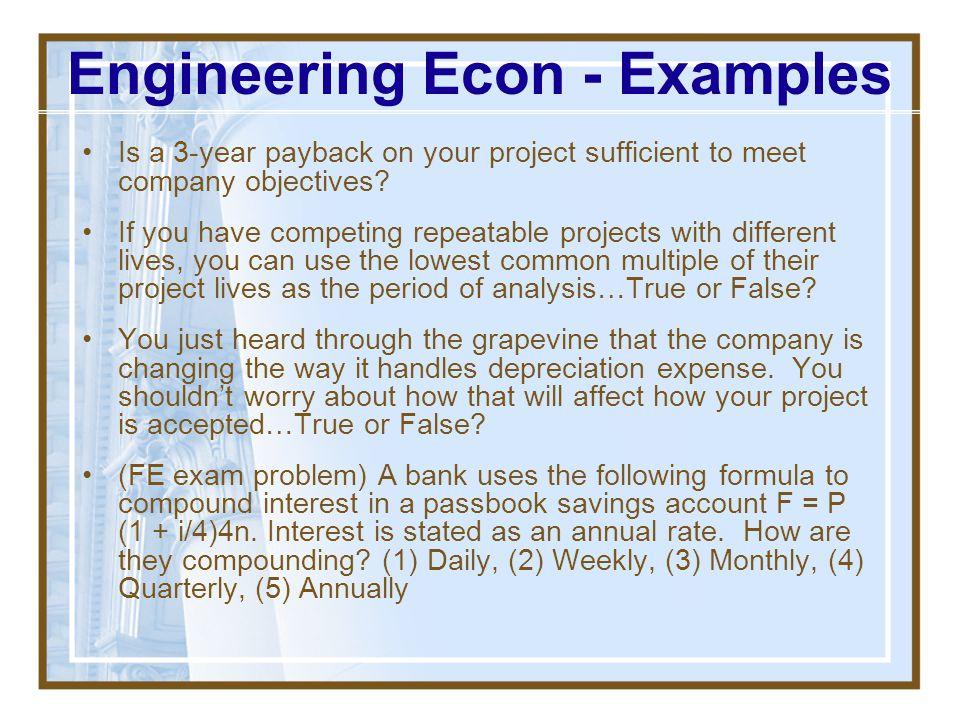 Engineering Econ - Examples