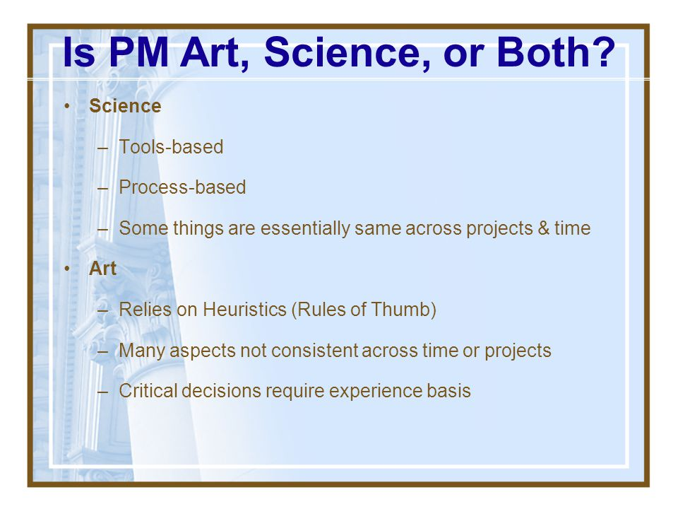 Is PM Art, Science, or Both