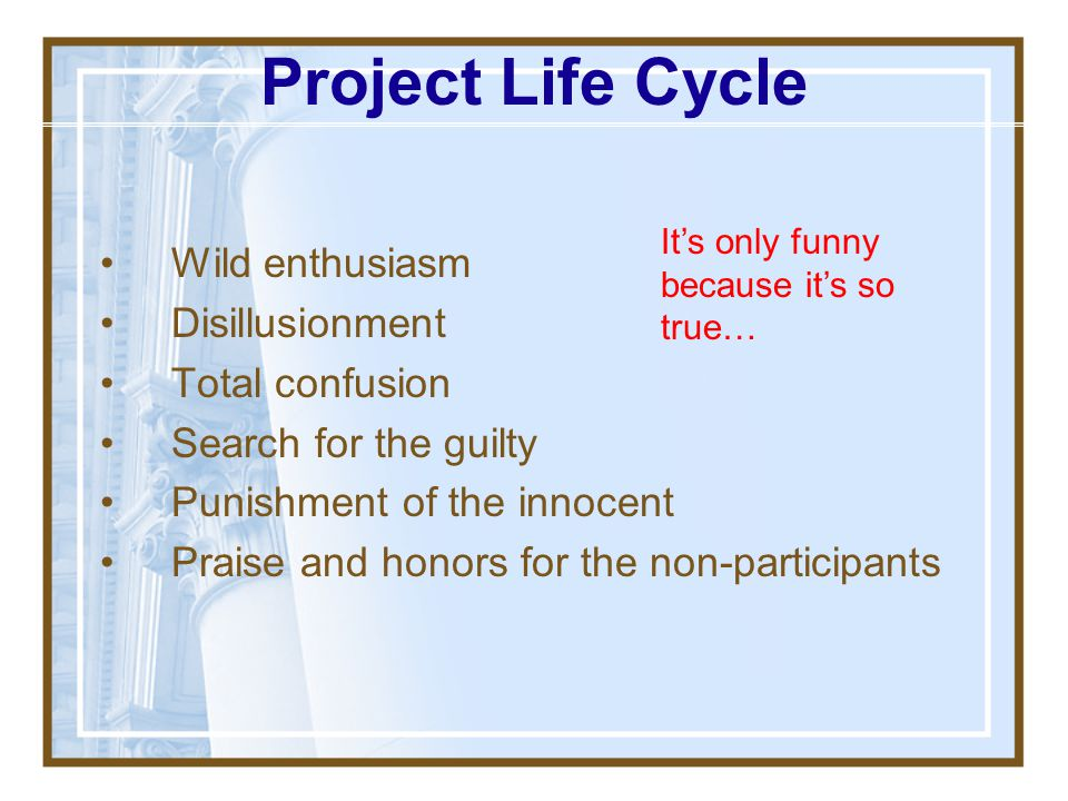 Project Life Cycle Wild enthusiasm Disillusionment Total confusion