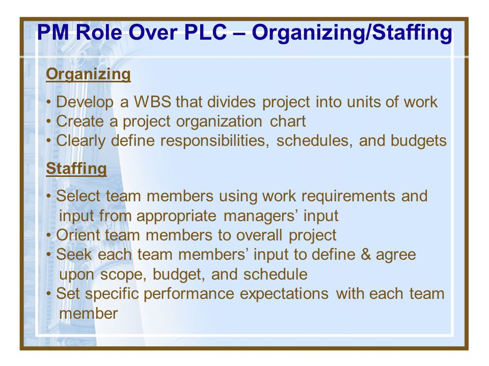 PM Role Over PLC – Organizing/Staffing