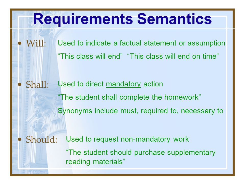 Requirements Semantics