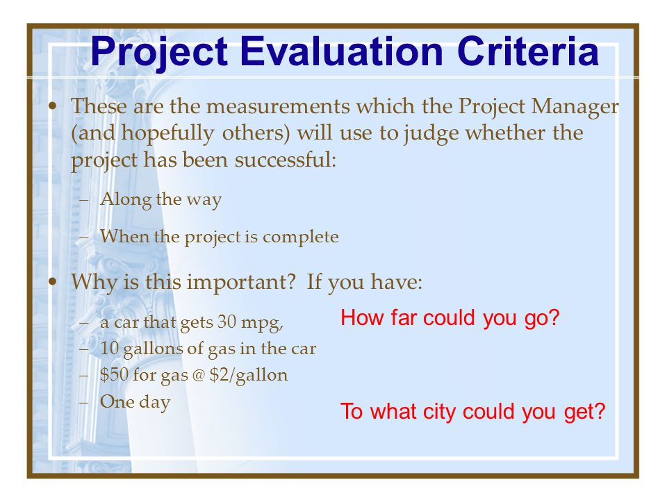 Project Evaluation Criteria
